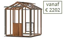 De houten tuinkassen zijn in meerdere lengtes leverbaar