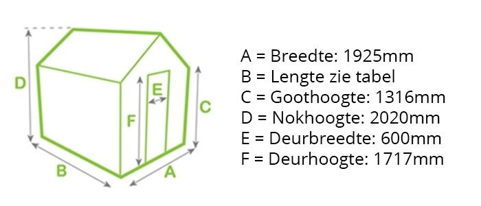 Tuinkas ECObasic afmetingen